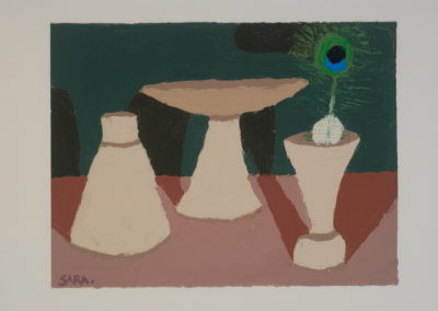 Untitled (Primitive Clay Vases with Peacock Feather)