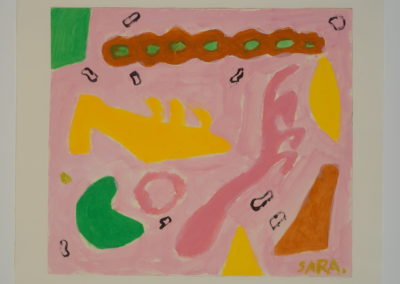 Untitled (Symbols 6 Yellow Slipper on Pink Field)